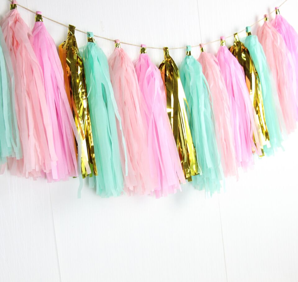 Pink Mint And Gold Nursery: (16 Pieces/set) Paper Tassel Garland Pink Mint Gold