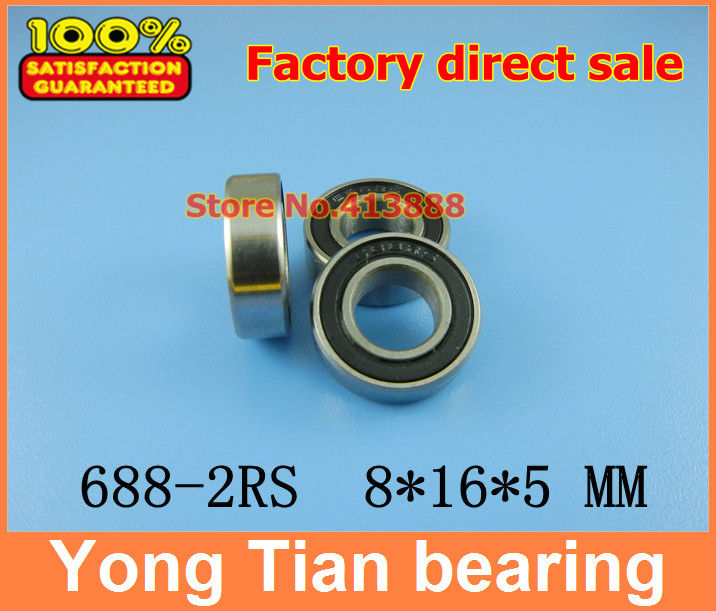 50pcs free shipping The Rubber sealing cover  Thin wall deep groove ball bearings 688-2RS 8*16*5 mm free shipping 10pcs 6900 2rs 6900 2rs 10 22 6mm 61900 2rs the rubber sealing cover thin bearings 6900 rs 10x22x6mm for bicycle