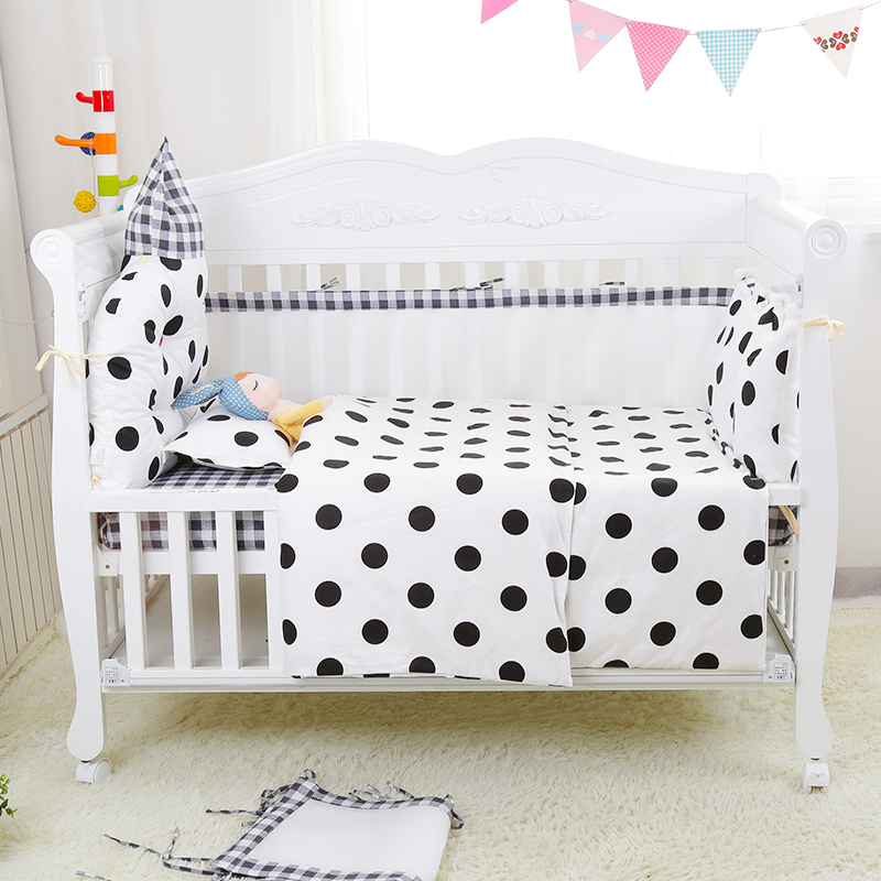 6pcs Nordic Style Breathable Baby Cot Linens Crib Bedding Set Including Crown Headrest Around Bumpers Bed Sheet Pillow 25 Colors promotion 6pcs baby bedding set cot crib bedding set baby bed baby cot sets include 4bumpers sheet pillow