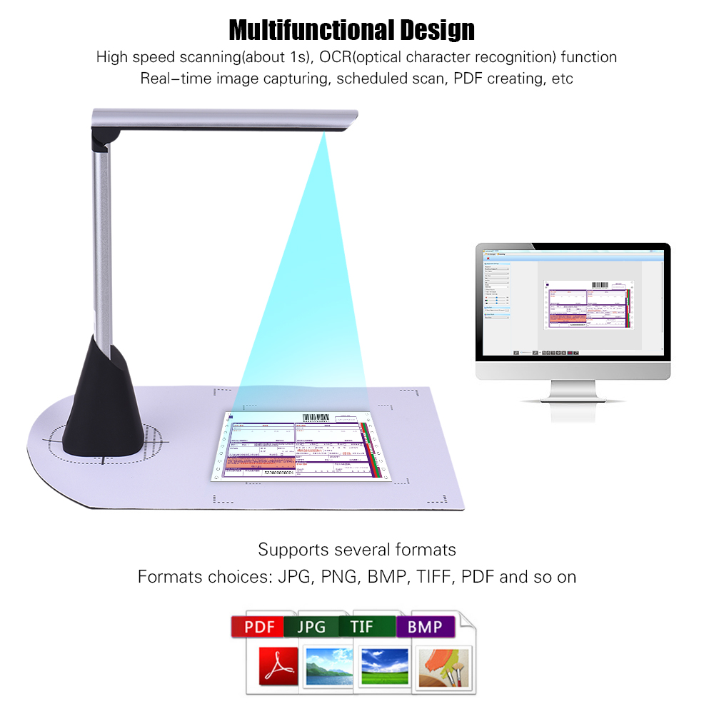 Portable High Speed USB Book Image Document Camera Scanner 5 Mega-pixel HD High-Definition Max. A4 Scanning Size
