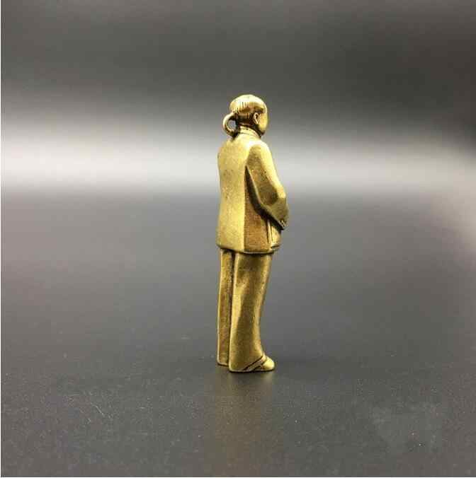 Koperen Standbeeld Collectable Chinese Messing Gesneden Grote Man Voorzitter Mao Mao Zedong Prachtige Kleine Hanger Standbeelden