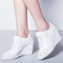 NAYIDUYUN  Tennis Shoes Women Cow Leather Wedges High Heel Pumps Lace Up Summer Ankle Boots Breathable Trainers Casual