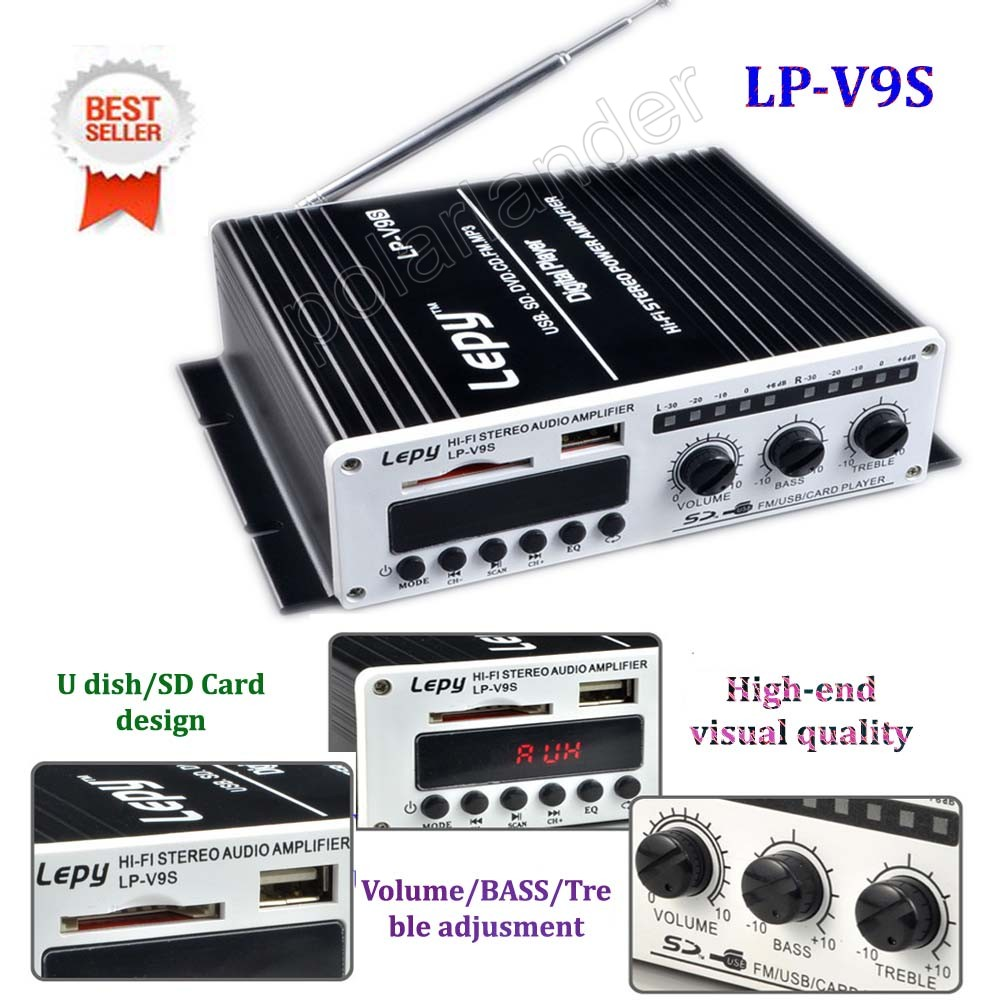 Hot 12 V mini voiture Hi-Fi numérique LPV9S USB FM CD SD DVD MP3 amplificateur de puissance numérique auto véhicule audio puissance multifonction 15WX2