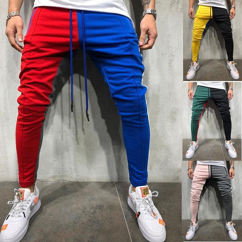 Elastic Waist Joggers Men Blue Stripes 2019 Fashion Sweatpants Male Patchwork Hip Hop Trousers For Men With Pocket Men Jogging