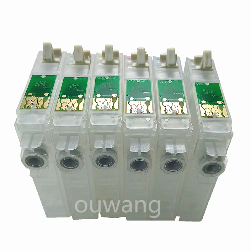 T0801 T0806 Refillable Ink Cartridge For Epson P50 RX660 R265 R360 RX560 R285 RX585 RX685 PX700 PX710 PX810 Printer 600ml INK in Ink Cartridges from Computer Office