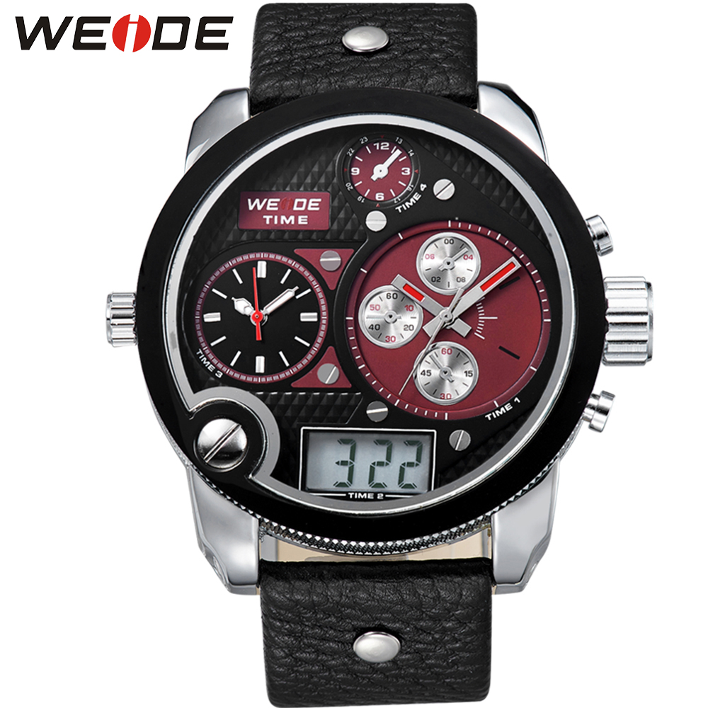 WEIDE Mens Date Day Backlight Stopwatch Leather Wristwatches 3 Time Zone Quartz Analog Digital Display Waterproof Watch Big Dial weide full steel auto date watch mens analog digital dual time zone alarm stopwatch display sports male clock watches for men