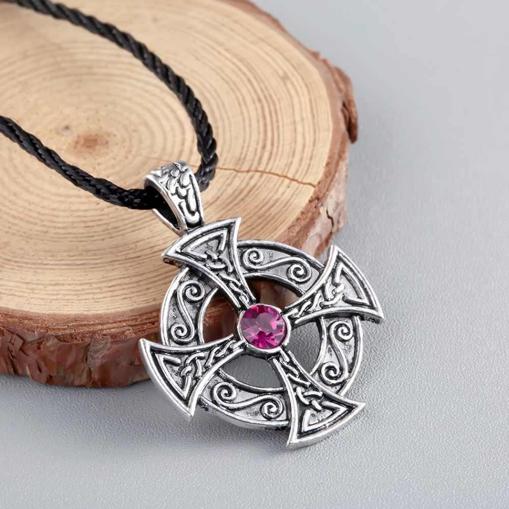 QIMING srebrny Celtic naszyjnik słońce słoneczny krzyż starożytnych krzyż mężczyźni Viking biżuteria najlepszy przyjaciel prezent czarne skórzane damskie naszyjnik