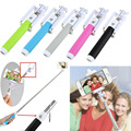 Extendable Handheld Wired Remote Shutter Selfie Stick Monopod For iPhone Samsung phone holder