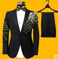 Newest S-4XL Men Suits Sequins Peacock Pattern Fashion Slim Black Blue Paillette Embroidered Male Singer Party Prom SUITS SET