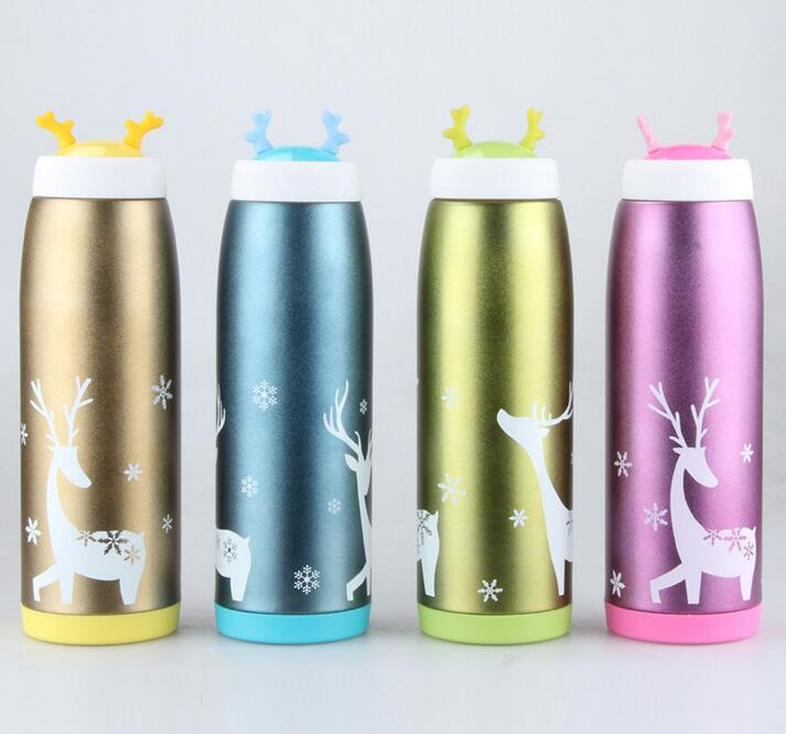 260 350 500ML Cute Deer Termocup Stainless Steel Vacuum Flask Thermos Drikingware Water Bottle Coffee Mugs