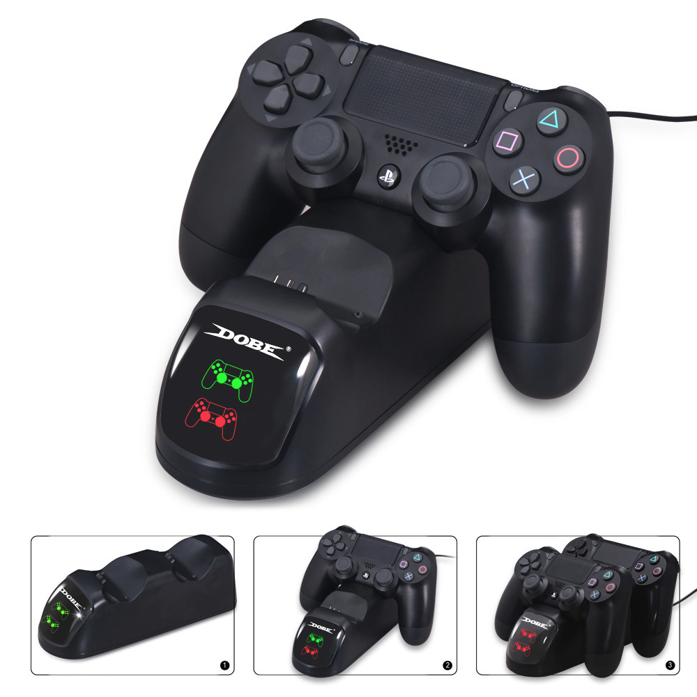 PS4 Controller Charger, PS 4 Charging Dock Station with LED Light  Indicators Compatible with PS4/PS4 Slim/PS4 Pro Controller