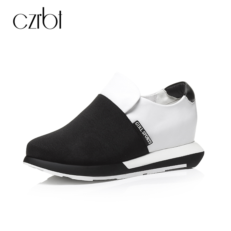 Czrbt Fashion Women Shoes Genuine Leather Flats Spring Autumn Black White Mixed Colors Platfrom Shoes Woman Casual Flat Shoes