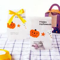 50pcs A Lot Wholesale Halloween Pumpkin Style Pastry And Cookie Baking Plastic Bag Gift Halloween OPP