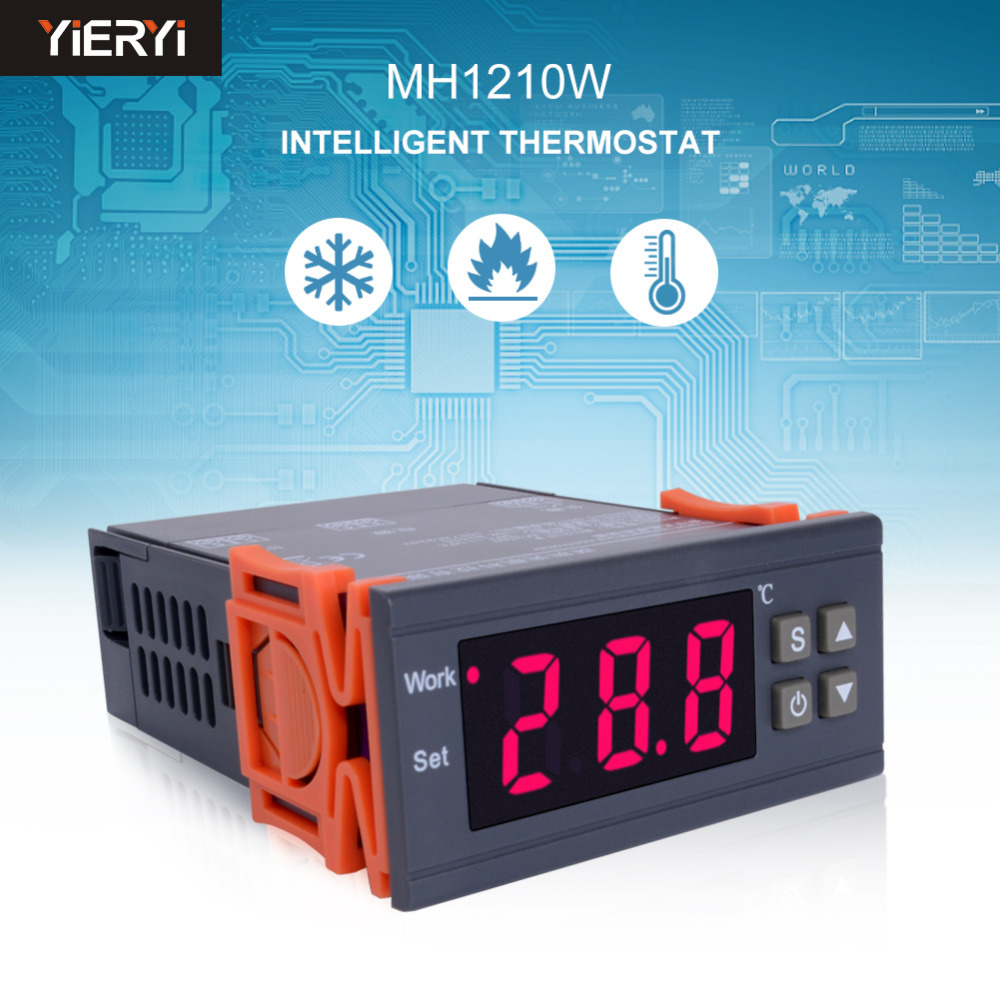 MH1210W Digital Temperature Controller AC90-250V 10A 220V Thermostat Regulator with Sensor -50~110C Heating Cooling ControlMH1210W Digital Temperature Controller AC90-250V 10A 220V Thermostat Regulator with Sensor -50~110C Heating Cooling Control