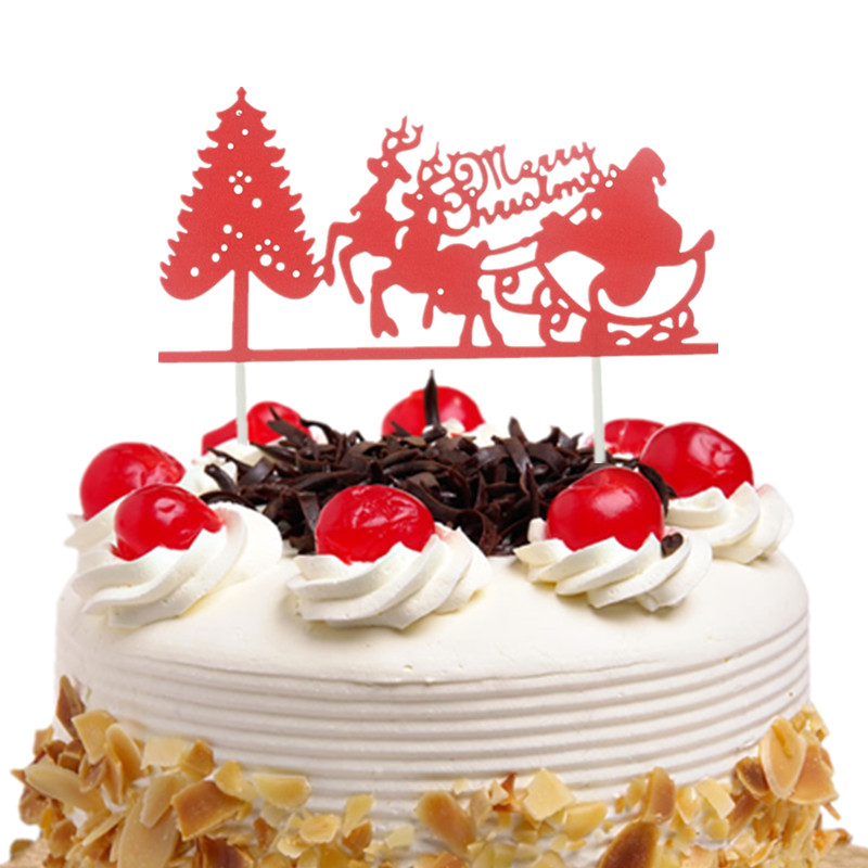 bf586a93e5310 Christmas Red Cake Toppers Flags Santa Claus Elk Merry Christmas Cake Topper  Glittler Tree Party Cake Baking Decor Xmas-in Cake Decorating Supplies from  ...