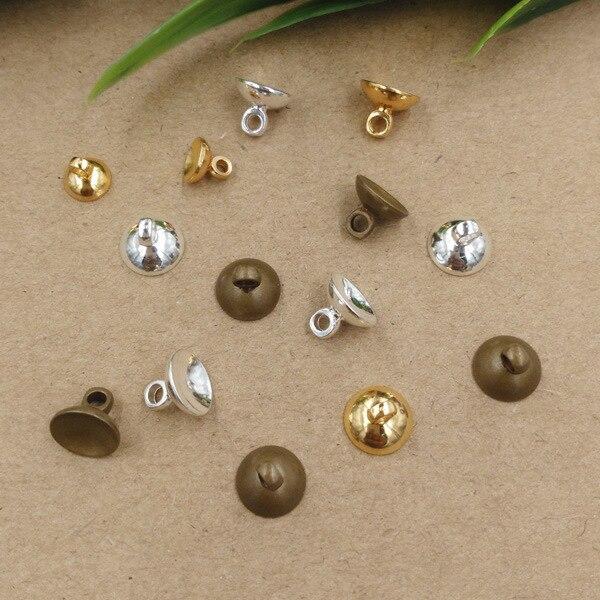 50pcs/lot 6/8/10mm Antique Bronze Copper End Bead Caps Pendant Connectors Bail Caps Round Beads DIY Jewelry Making Findings