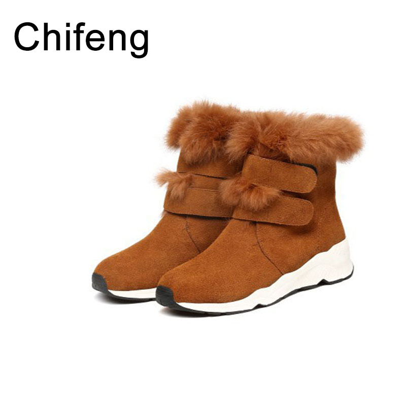 fur boots women winter casual ankle boots for womens shoes 2017 fashion woman snow black boots
