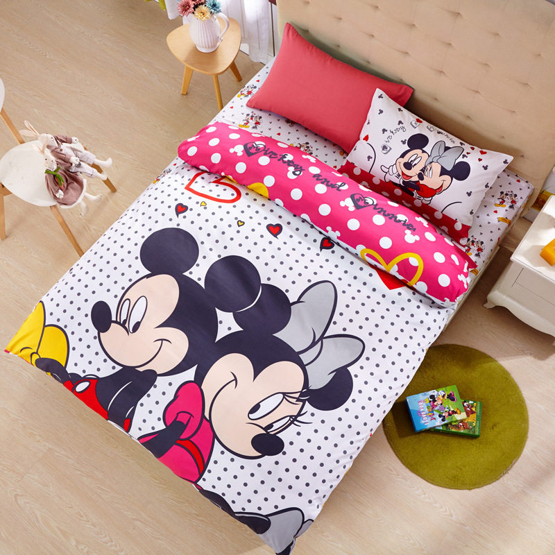 US $55.99 30% OFF|Disney Hot Pink Dot Mickey Minnie Mouse Bedding Sets  Girl\'s Children\'s Bedroom Decor Cotton Duvet Cover Set 3/4pcs no Filler-in  ...