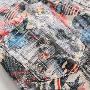 Image 4 - Sokotoo ผู้ชายภาษาอังกฤษธงความงามสาว 3D พิมพ์กางเกงยีนส์ Slim fit สีทาสียืดกางเกง