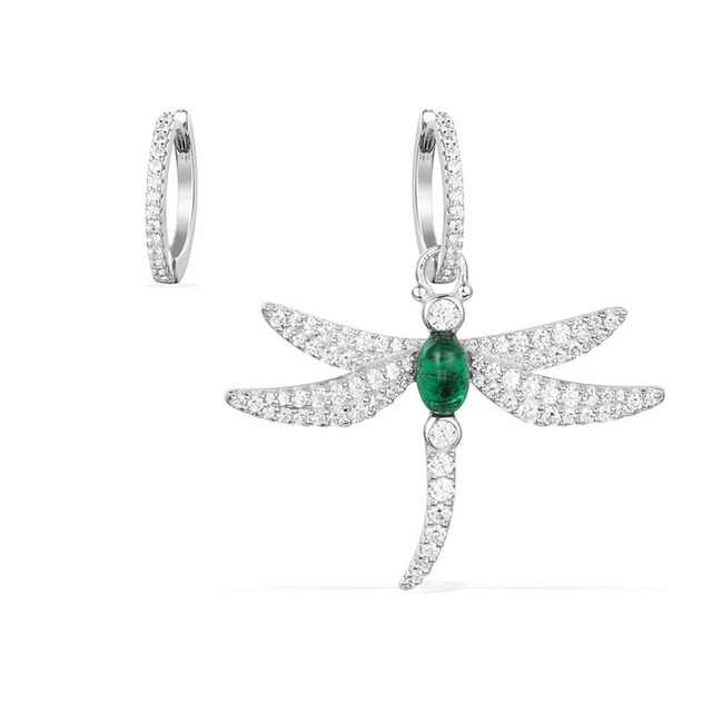SLJELY 925 Sterling Silver Dragonfly Asymmetric Earrings Inlayed Green Red Blue Cubic Zirconia for Women Insect Fine Jewelry