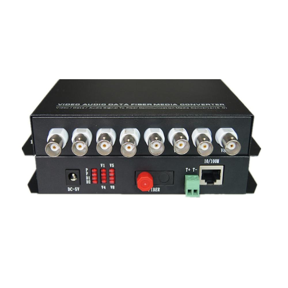 Multifunction Fiber optic media converters 8CH Video and 10/100M Ethernet RJ45 and RS485 Data - FC Singlemode 20Km for CCTV