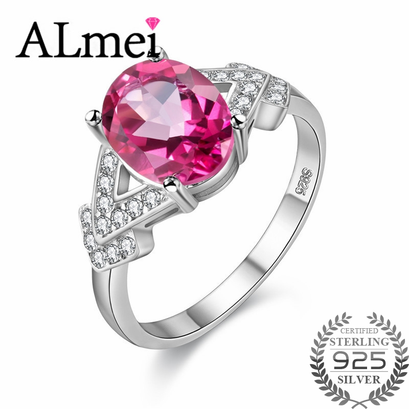 Almei 2ct Pink Oval Topaz Arrow Rings For Wedding 925 Sterling Silver Clear Zircon Women's Fine Jewelry With Box 40% FJ014-Pink