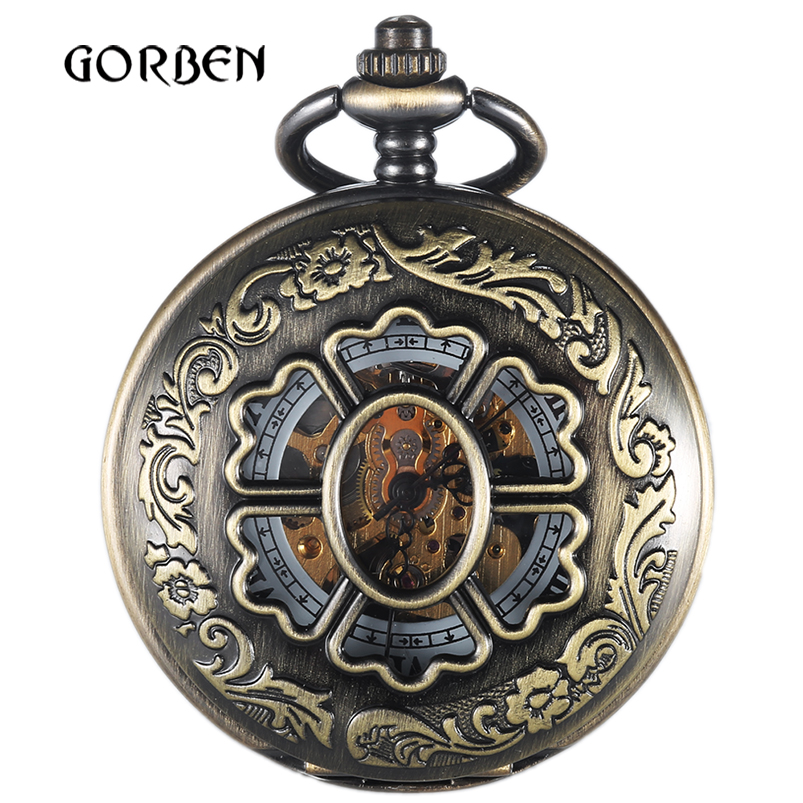 Retro Bronze Hollow Skeleton Pocket Watches 2 Sides Open Case Vintage Hand Wind Mechanical Pocket FOB Watches Relogio De Bolso