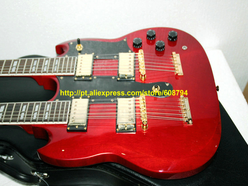 custom 1275 double neck electric guitar golden parts red 12 strings 6 strings guitars china. Black Bedroom Furniture Sets. Home Design Ideas
