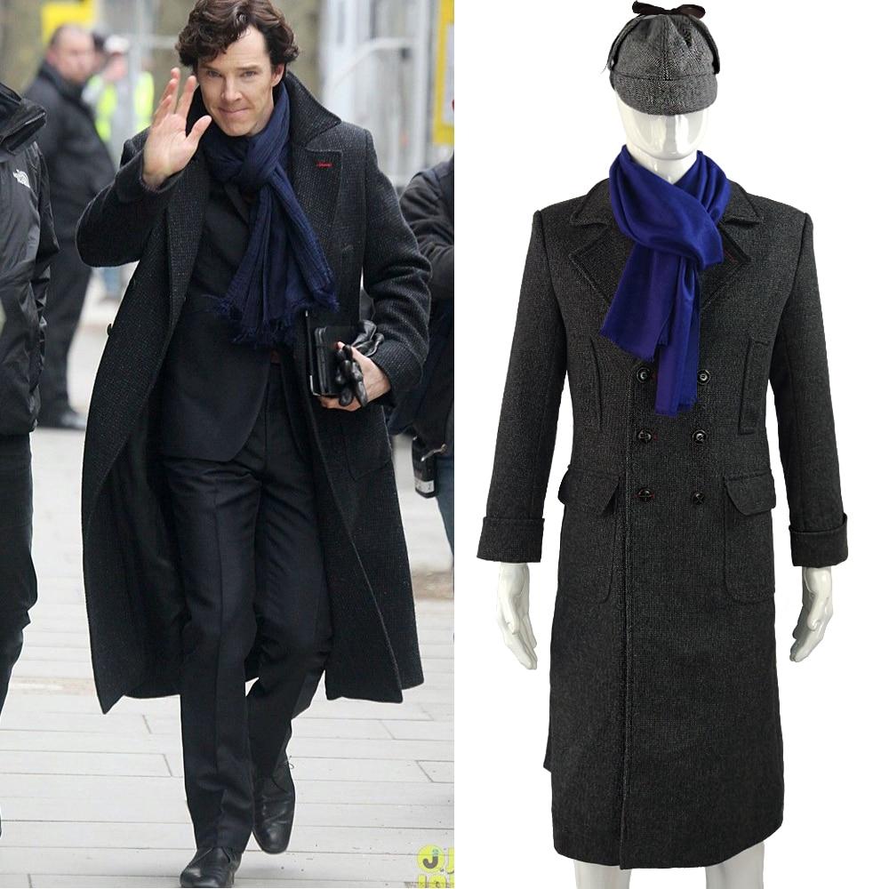 Шерлок Холмс ТВ длинные шерстяные зимние мужские плащ пальто куртка костюмы для косплея