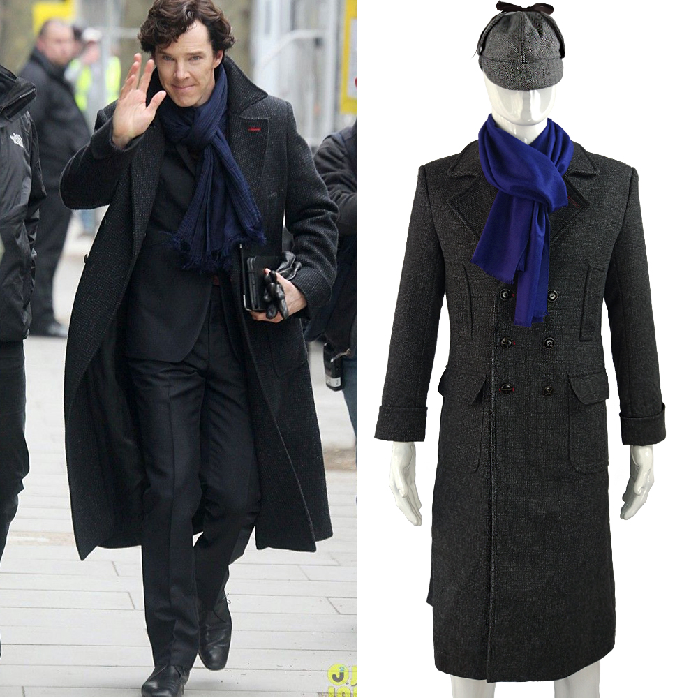 Sherlock Holmes Tv Panjang bulu Winter Mens Cape Coat Jacket Cosplay Costumes