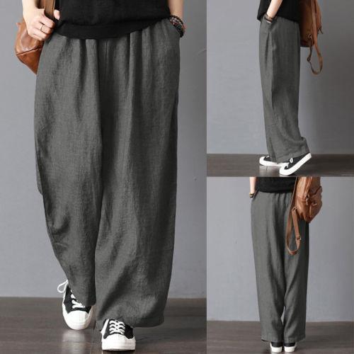 Men Casual Loose Wide Leg Pants Cotton Linen Casual Bloomers Trousers Harem  Plus Size Clothing