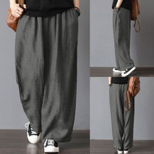 Men Casual 느슨한 Wide Leg Pants Cotton Linen 캐주얼 체조 복 바지 하렘 Plus Size 옷(China)