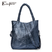 ESUFEIR Brand Genuine Leather Women Handbag Cow Leather Patchwork Shoulder Bag Fashion Women Messenger Bag Tote