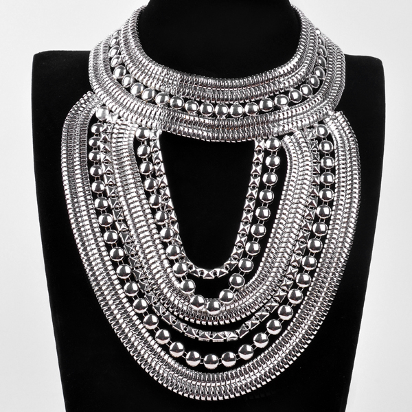 Winter New Arrival Fashion Hot Bib Big statement Multi Golden And Silver Chains Noble Shimmer Collar Necklace