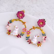 2018 New Arrival Colour Rabbit Lovely Earrings Women Summer Earrings(China)