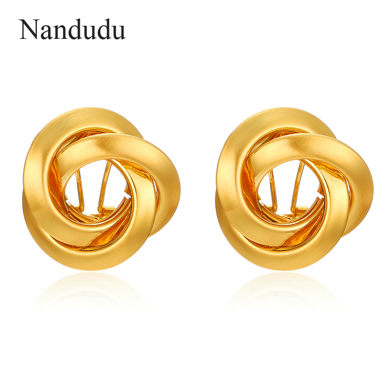 Nandudu New Gold & Silver Color Knot Design Earrings Brand Jewelry Gift for Women Girl Three Circles Cross Surround Earring