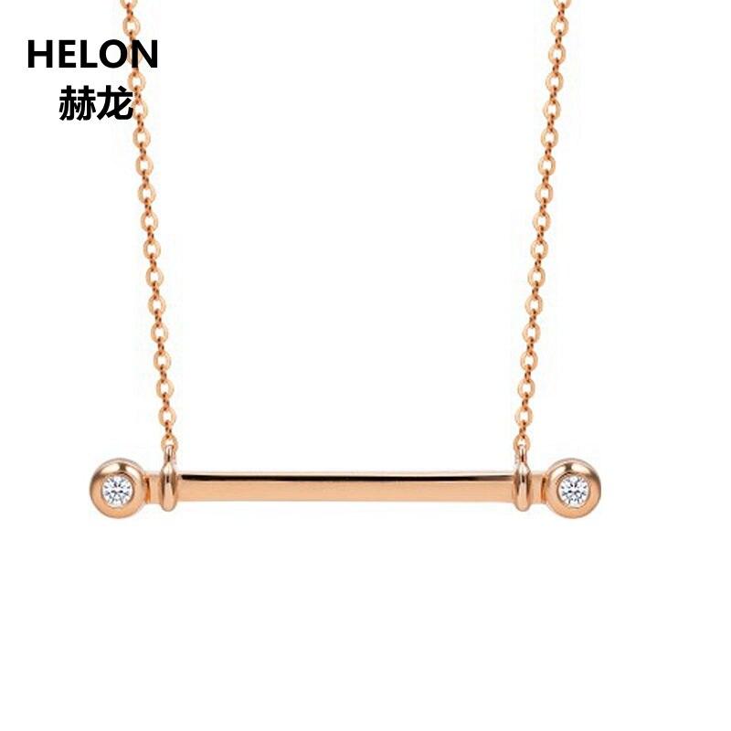 Sólido 18 k oro rosa SI/H Natural colgante collar de diamantes de aniversario, las mujeres colgante amante regalo de joyería fina