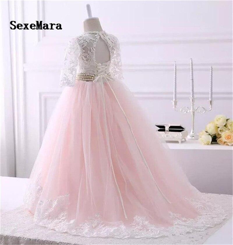 Belle dentelle Applique fleur filles robe avec ruban trou de serrure dos gonflé Tulle première Communion robe de noël robe de toute taille