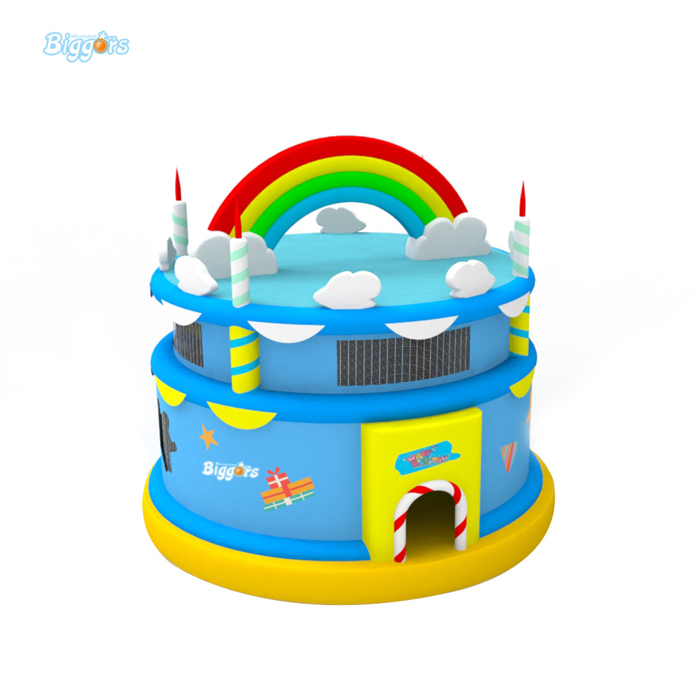 Birthday Cake Bounce House Gift For Children Trampoline Outdoor Inflatable Playground Equipment Amusement Park