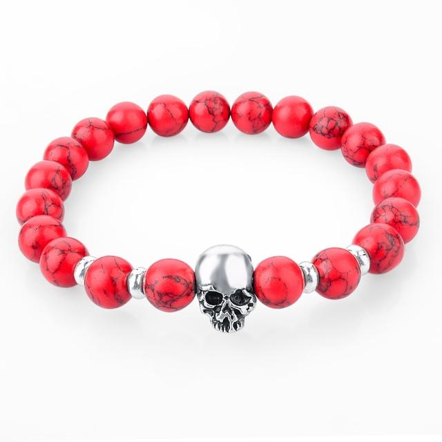 Natural Stones Skull Bracelet
