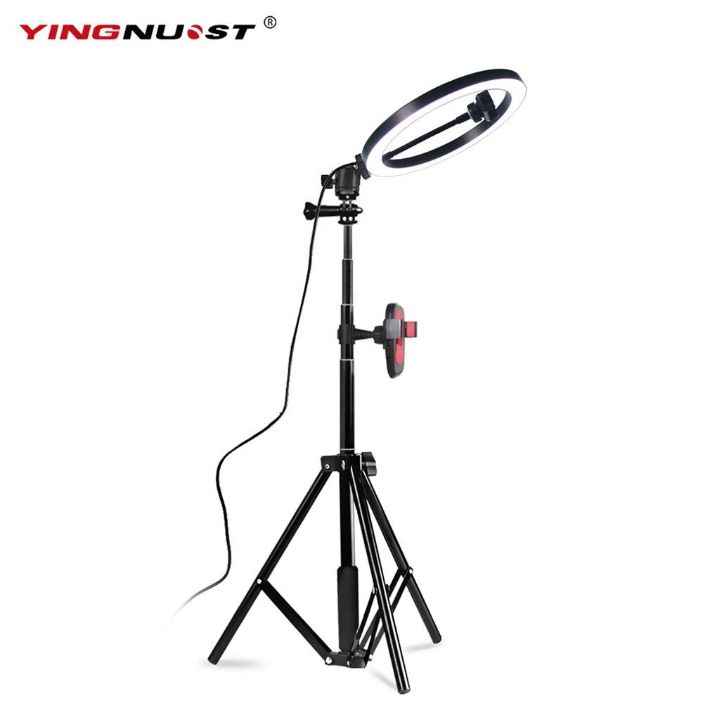 10 ''26 cm beauté Selfie LED anneau lumière pour Smartphone caméra Studio maquillage lumière de remplissage 1.8 m hauteur trépied support anneau lampe Kit