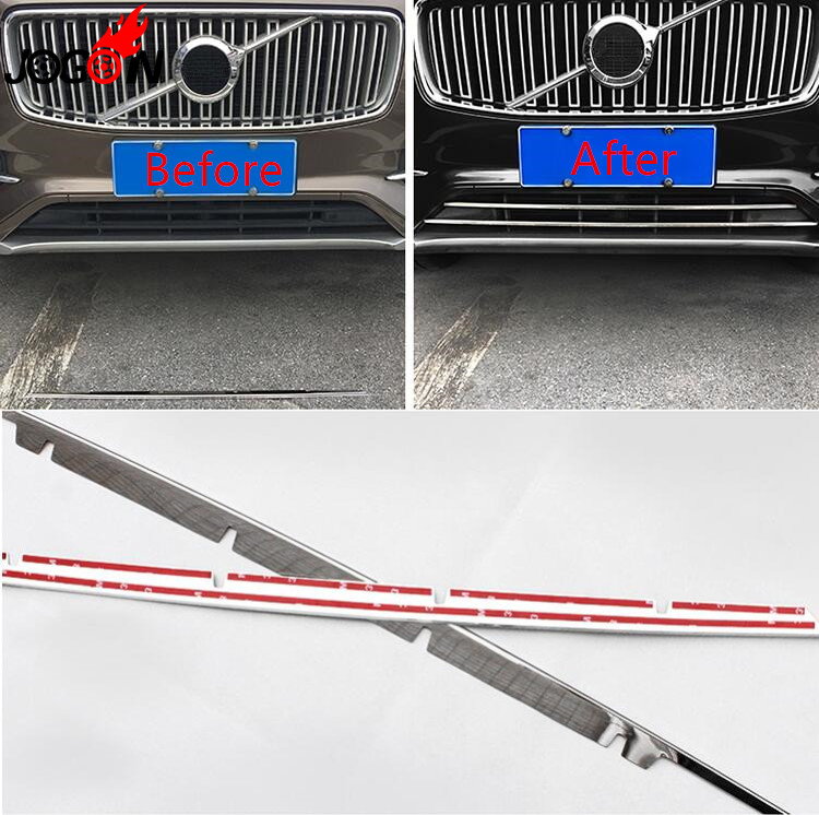 2P For Volvo XC90 2016 2017 2018 Accessories Stainless Steel Front Bumper Bottom Mesh Grille Grill Lower Cover Trim Car styling цена