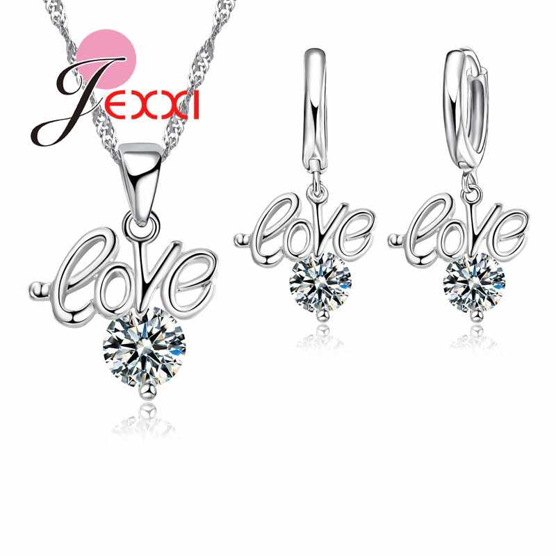 Christmas Gift Love Letter Crystal 925 Sterling Silver Necklaces Earrings Jewellery Set For Women Girls
