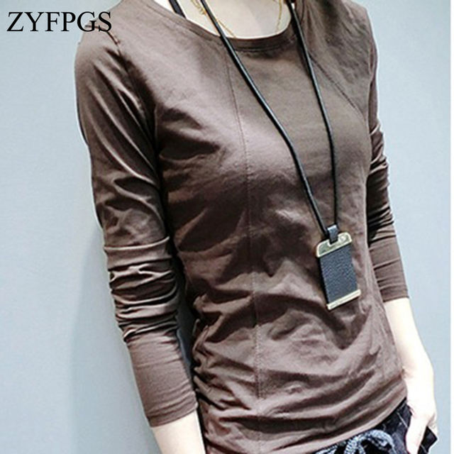 7d1f8329751313 ZYFPGS 2018 Female T-shirts Sewing Line Design Women Harajuku Plus Size  Shirt Tops Korean Long Sleeve Ladies t-shirt Z0808
