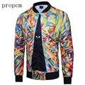 New Fashion Mens Jackets Bomber Jacket Autumn Windbreaker Coats Tactical Men Plus Size Long Sleeve Eyes Tie Print Streetwear Man