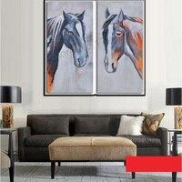 2017直接販売リアル有名な100%手作り馬アート油絵キャンバスツーピースcombinated大ainmal壁写