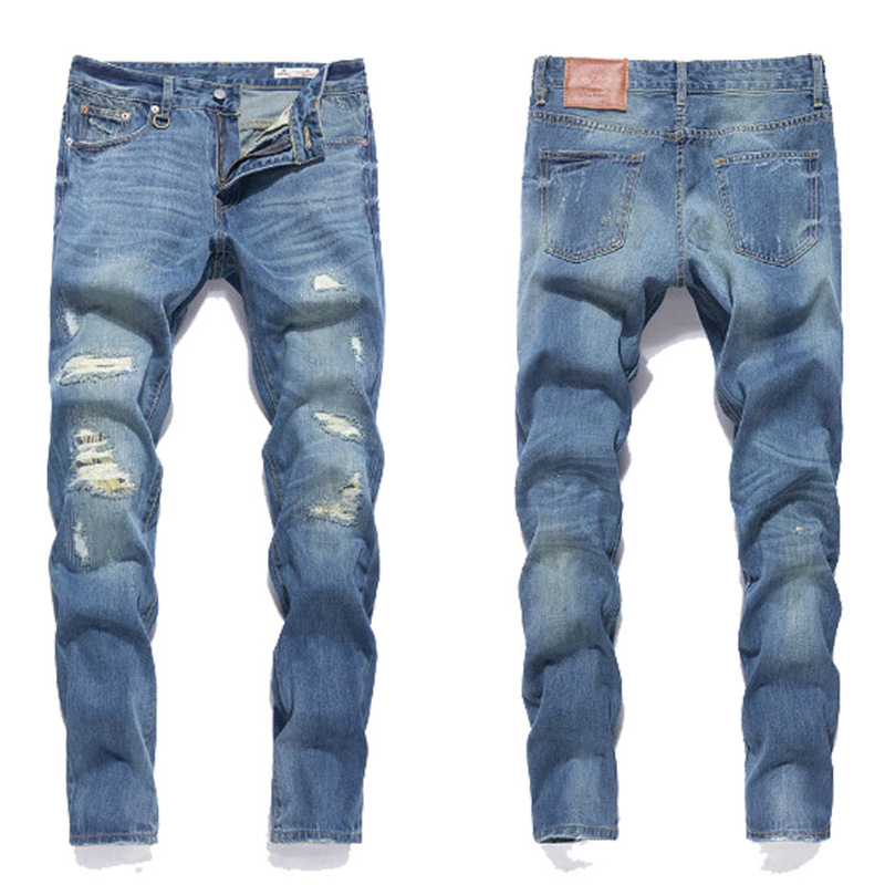 Hot Sale Slim Fit Jeans Men New Original Brand Superably Jeans Ripped Denim Trousers High Quality Mens Destroyed Jeans U391 2017 fashion mens patch jeans slim straight denim biker jeans trousers new brand superably jeans ripped dark jeans men u329