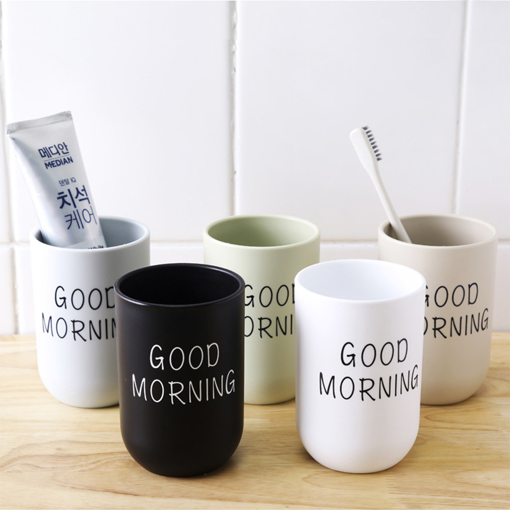 Simple Nordic Travel Portable Washing Cup Bathroom Sets Plastic Toothbrush Holder Good Morning Tooth Brush Storage Organizer Cup(China)