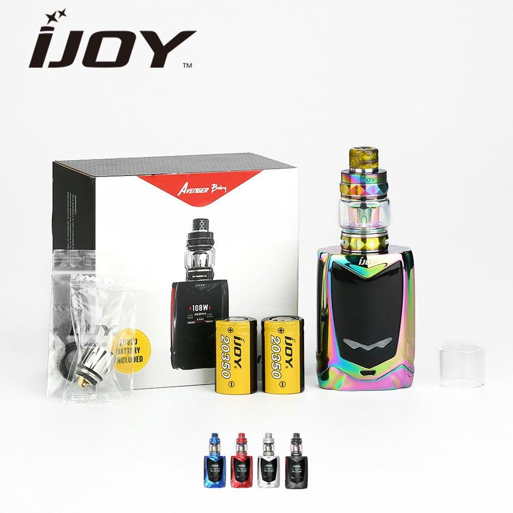 Braderie! IJOY Avenger bébé commande vocale TC Kit Version TPD avec réservoir 2ml & 108W boîte MOD & 2800mAh double 20350 Batteries