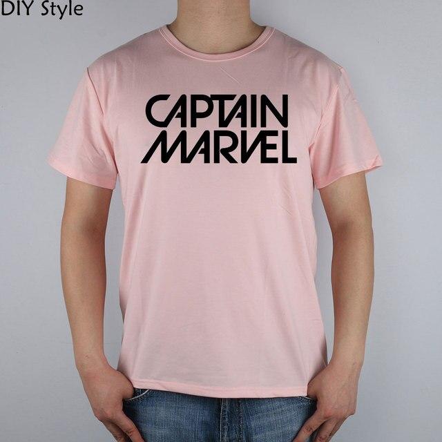 CAPITÃO MARVEL logo design T-shirt Top de Lycra de Algodão camisa Dos Homens  T 2ef74b5291196
